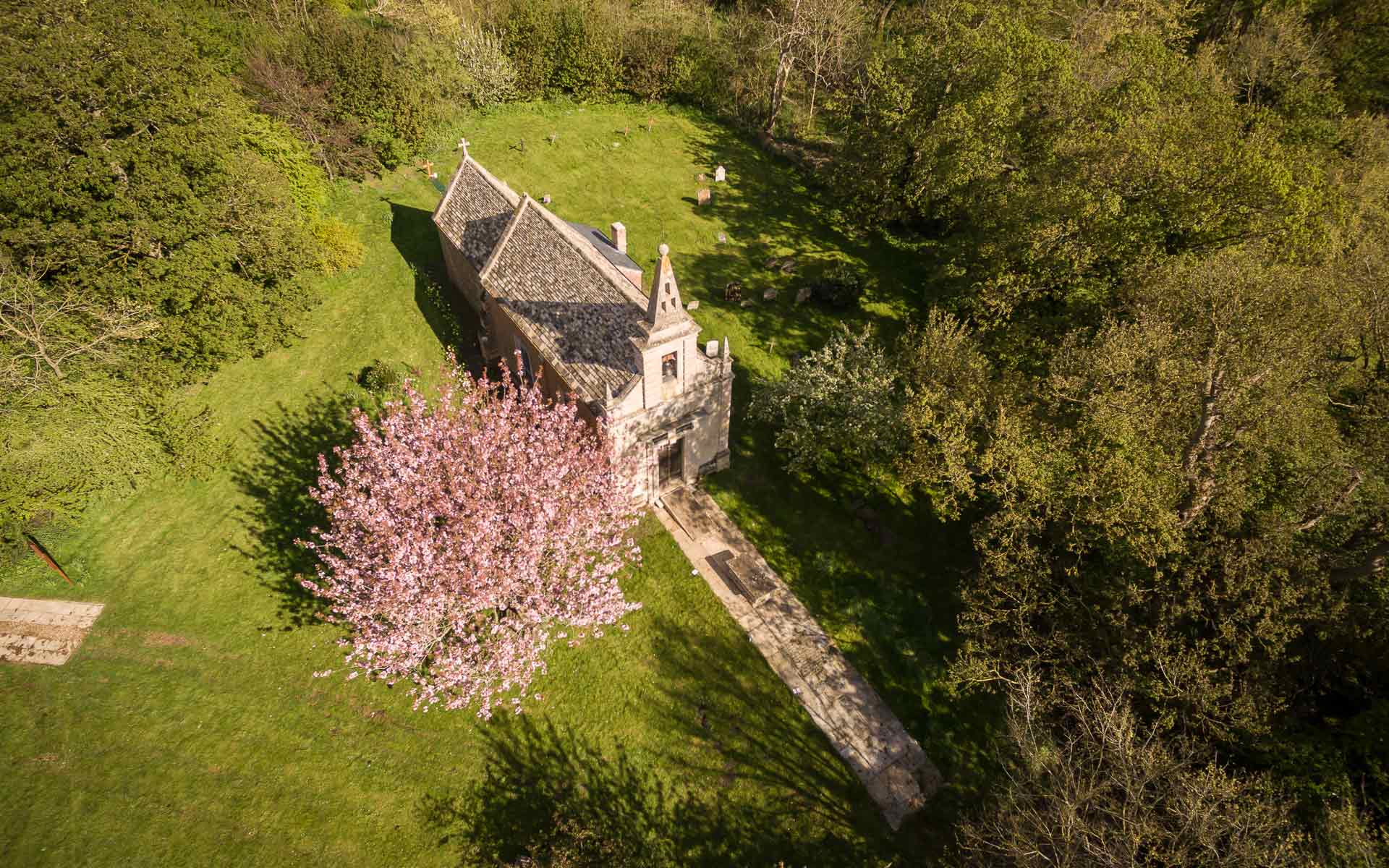 Aerial view of Little Gidding Church