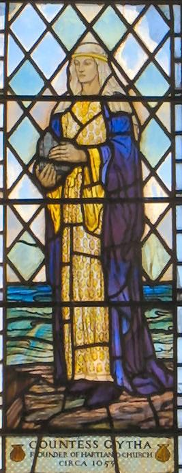Part of Caroline Townshend and Joan Howson window at St Nectan's Church. Countess Gytha