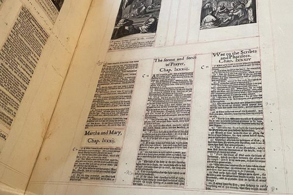 Pages from a Gospel Harmony, made by the women in the Ferrar family